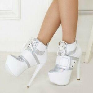 Women-Round-Toe-Platform-High-Stiletto-Heel-Lace-Up-Party-Oxfords-Sneaker-Pump