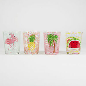 Tropical-Summer-Water-Tumbler-Glass-Individual-or-Set-of-2