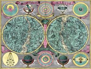 MA02-Vintage-Celestial-Map-Planisphaerium-Coeleste-Astronomy-Poster-Print-A3-A4