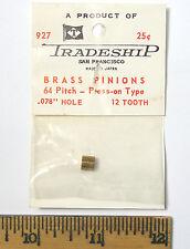 "1 TRADESHIP Japan 1/24 Slot Car BRASS PINION GEAR 64 Pitch .078"" Hole 12 Tooth"