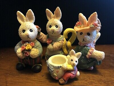 Set of 3 Different Rabbit Dollhouse Miniatures Clay Figurine Easter
