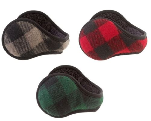 180s Men/'s Adjustable Vintage Buffalo Check Ear Warmer 85/% Wool New In Gift Box!