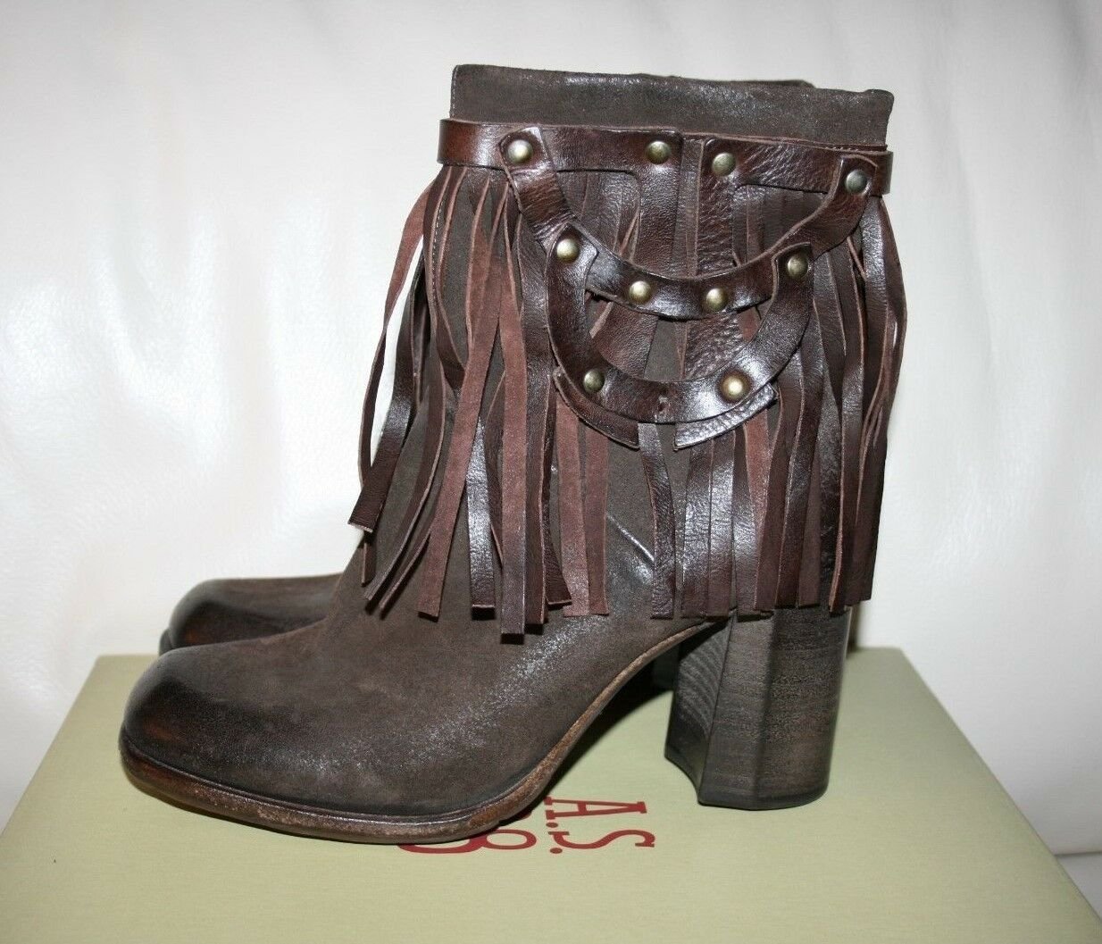 NIB FREE PEOPLE A.S.98 Brown Leather Fringe Ankle Boots Booties   37 6.5-7