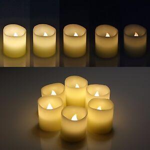 6-LED-Echtwachskerzen-Teelichter-Fernbedienung-Timerfunktionflammenlos-Atemlicht