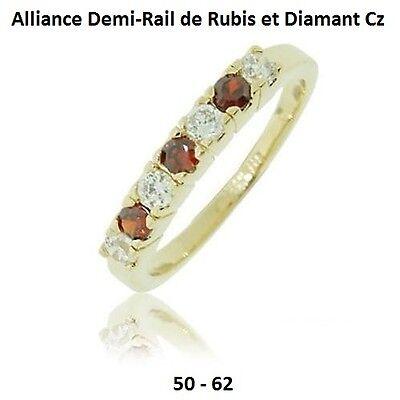 Dolly-Bijoux Alliance T58 Demi-Rail Diamant Cz 2 mm Plaqué Or 18K 5 Microns