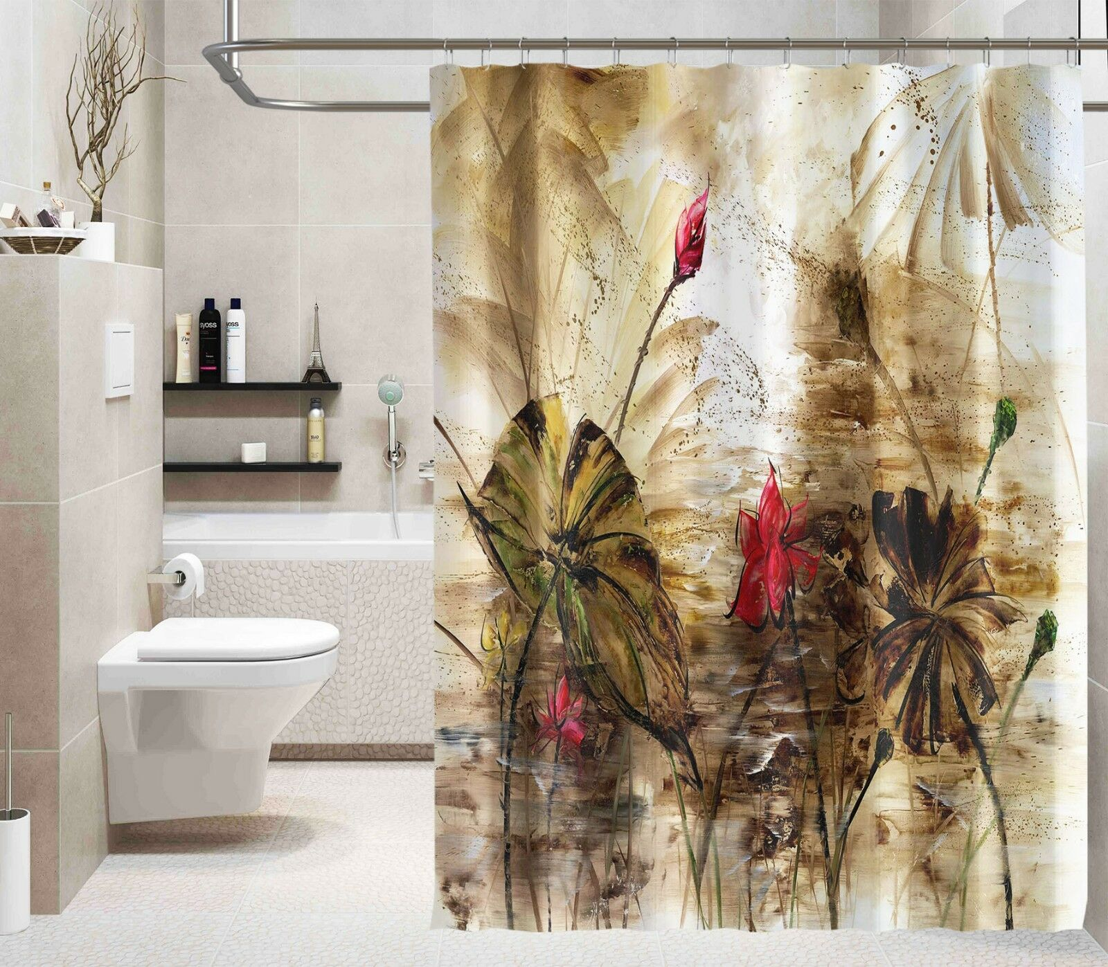 3D Lotus Graffiti 77 Shower Curtain Waterproof Fiber Bathroom Windows Toilet Ca5149