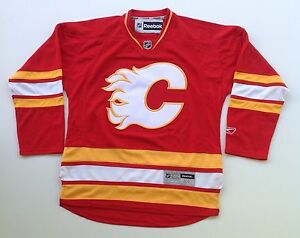 official photos 36ae3 8394c Details about Calgary Flames Reebok Premier Alternate NHL Hockey Jersey  YOUTH Original Size XL