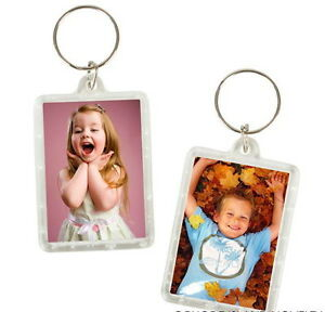 50 PHOTO FRAME KEYCHAINS KEY CHAIN CLEAR TRANSPARENT INSERT PICTURES-FAST SHIP!
