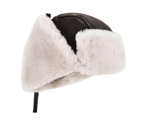 Men B3 Brown Cream Hat RAF Aviator Shearling Sheepskin WW2 Flying Trapper Hat