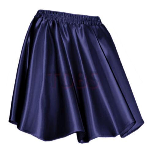 NAVYBLUEWomen Lady Satin Shiny Mini Skirt Pleated Retro High Waist Club S~3XL