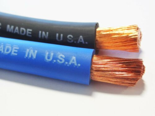 20/' 4//0 WELDING BATTERY COPPER CABLE MADE IN USA EPDM JACKET 10/' BLACK 10/' BLUE