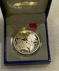1993-France-1-Franc-Coin-50-Year-Anniversary-Normandy-Silver-Proof-w-box-amp-COA
