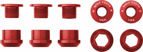 Wolf Tooth Components Set of 5 Chainring Bolts for 1x use Dual Hex Fittings Red