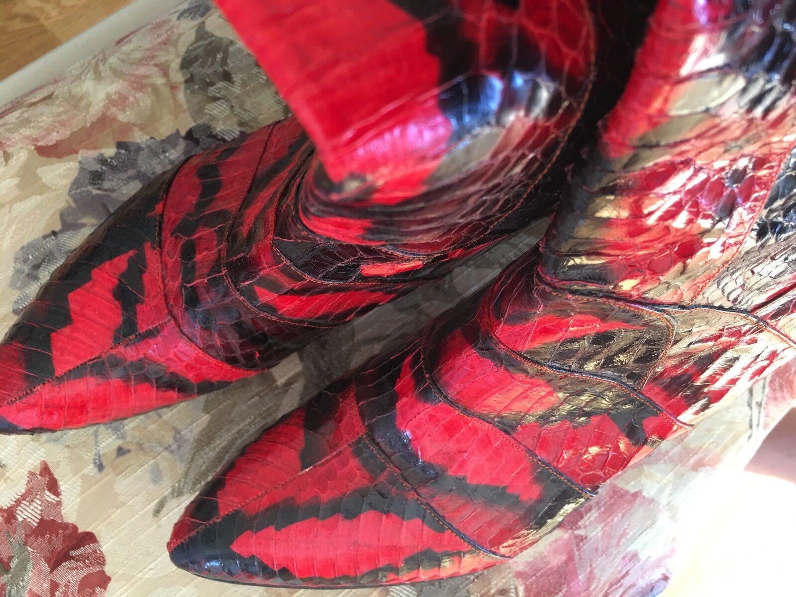 NEW   Genuine Python Skin Boots Size EU 40 UK 7 USA 10