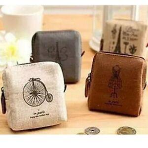 Women-039-s-Canvas-Coin-Purse-Zip-Wallet-Small-Mini-Bag-Case-Pouch-Unisex-Money-Bags