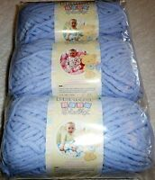 Bernat Baby Blanket Yarn Lot Of 3 - Baby Blue