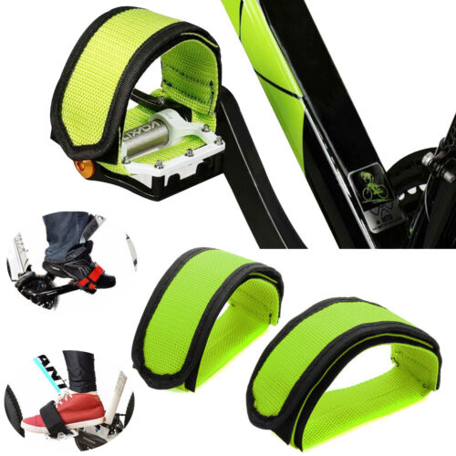Pair Green Cycling Bicycle Bike Foot Pedal Straps Fixed Anti-slip Toe Clips US