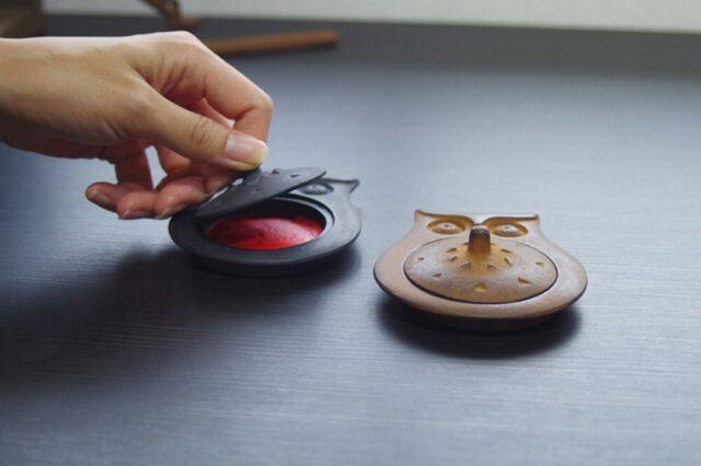 Takaoka Cast Iron Owl Round Black Shuniku Ink pad Case Jar Baba Tadahiro Japan