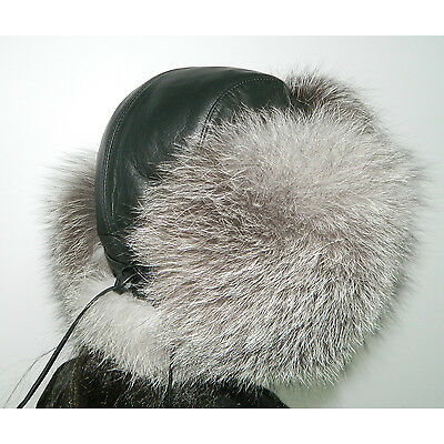 NEW WOMEN INDIGO FOX FUR HAT AVIATOR STYLE BLACK LEATHER ALL SIZES