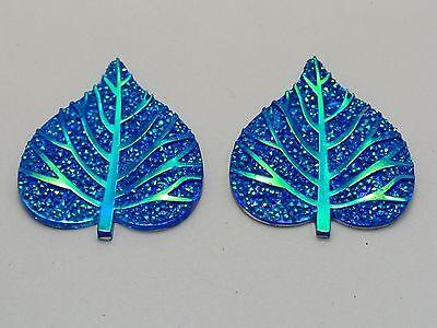 20 Royal Blue Flatback Resin Glitter Heart Leaves Rhinestone Cabochons Craft DIY