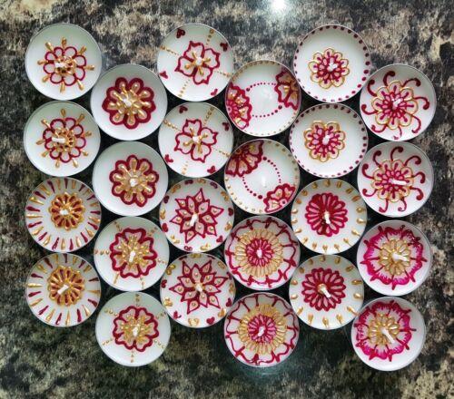 Set of 12 Henna Painted Tea Light Decorative Candles
