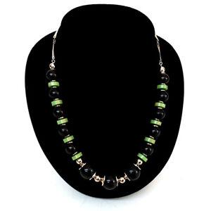 ORIGINAL-Kette-Necklace-JAKOB-BENGEL-30er-ART-DECO-mit-schwarzem-gruenem-Galalith