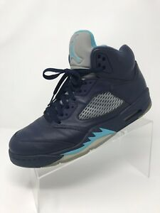 a012e36d8bff89 Image is loading Nike-Air-Jordan-5-Midnight-Navy-Turquoise-Hornets-