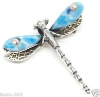 TAXCO MEXICAN STERLING SILVER LARIMAR DRAGONFLY PENDANT PIN MEXICO