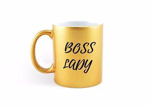 Details About Boss Lady Coffee Mug Gold Mug Birthday Xmas Christmas Gift Ideas Secret Santa