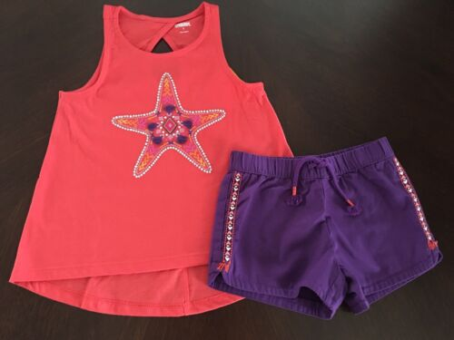 Neuf avec étiquettes GYMBOREE Girl Island Girl corail étoile de mer Tank//Violet Short Tenue 5 6 8 10
