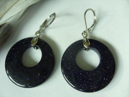 28 mm Blaufluss Donut Ohrringe Ohrhänger  Earrings mit Brisuren Edelstahl