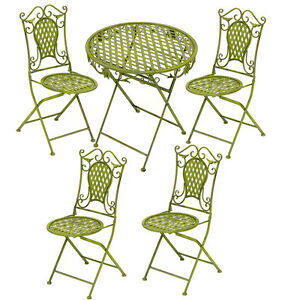 SALON DE JARDIN EN FER FORGE VERT 1 TABLE REPAS + 4 CHAISES SALLE A ...