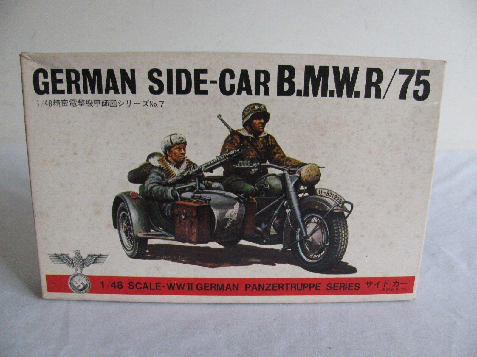 Vintage Bandai 1 48 Scale BMW R75 Motorcycle & Side Car German Figures NIB