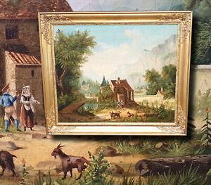 Antikes-Olgemaelde-inspiriert-vom-Hameau-de-la-Rheine-Marie-Antoinette-um-1790