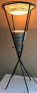 Rare Vintage 50s Atomic Iron Ceramic Pottery Lamp Mid Century Modern Lighting