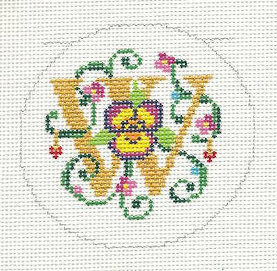 "18m LEE Alphabet Letter /""W/"" Floral Design handpainted Needlepoint Canvas 3/"" Rd"