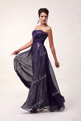 Long Chiffon Strapless Sequins Formal Evening Prom Ball Gown Full Length Dresses