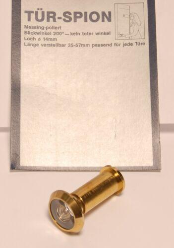 Loch 14mm Tür-Spion Türspion Weitwinkel 200° Messing-poliert Türs 35-57mm