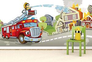 Details zu Vlies XXL Poster Fototapete Tapete Kinder Feuerwehr