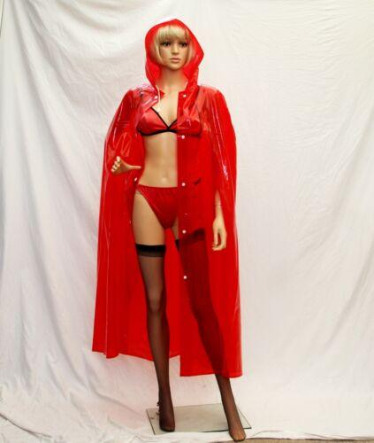 Superbe verre en PVC rouge à capuche cape vinyl Son Hers Fashion Imperméable TV maîtresse
