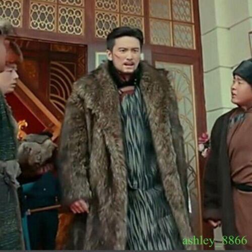 Mens Furry Faux Fur Loose Coat Winter Warm Long Thicken Outwear Parka Jacket Hot