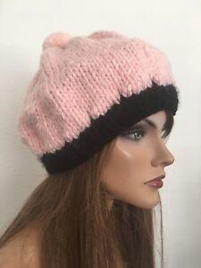672d525e Hans Knits 2 Love Hat Beanie Slouch Pink Black Designer Fashion Pom ...