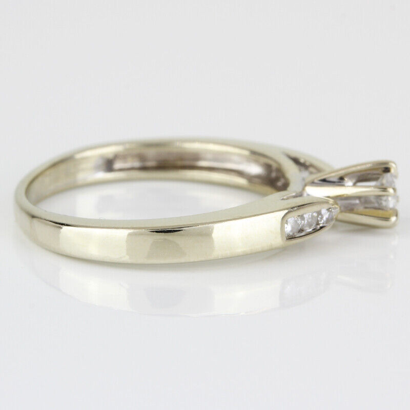 14k Gold Diamond Solitaire Ring w/ Accents - image 4