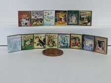 Dolls house miniature books, Fairy Tale set of 7 with real aged printed pages