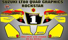 suzuki lt80 quad graphics stickers decals name & number lt 80 laminate rock star