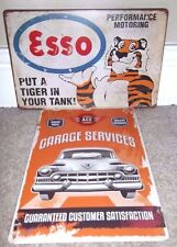 ESSO TIGER IN TANK/ GARAGE SERVICES, SET OF 2 METAL SIGNS, 30X20cm SHED/ MANCAVE