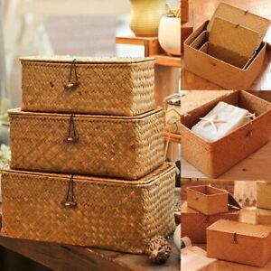 Woven-Storage-Basket-Lid-Rattan-Sundries-Classic-Seagrass-Wicker-Box-Organizers