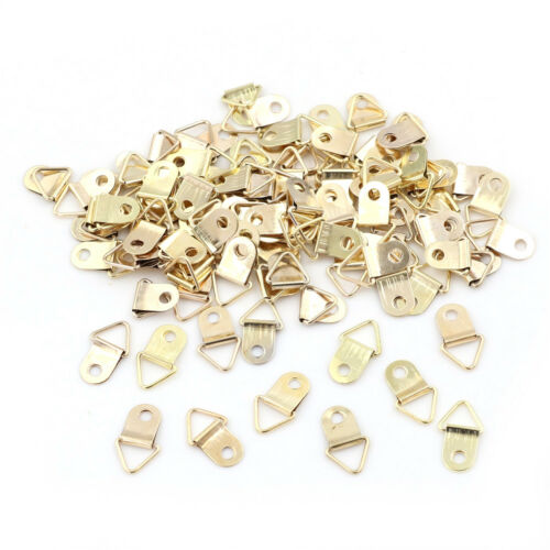 100pcs Mini Goldens Triangle D-Rings Pictures Photo Frame Hooks Hanger 10x20mmCO