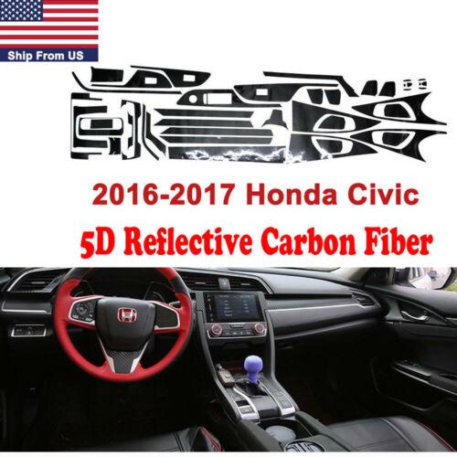 5D Glossy Carbon Fiber Interior Decal Control//Dash Panel Trim For Honda Civic
