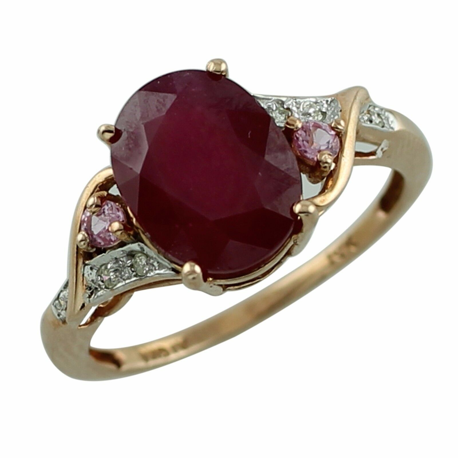 Ruby 4.09 Ct With Sapphire July Birthstone Ring Solid gold Christmas Top Jewelry